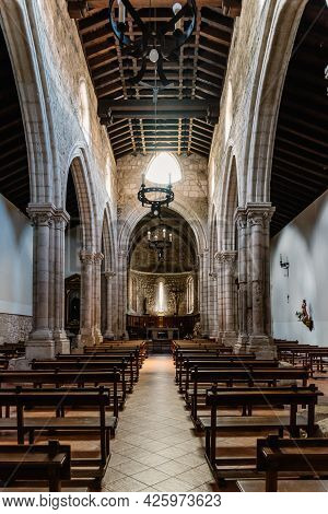 Brihuega, Spain - May 29, 2021: Interior View Of The Nave Of The Church Of Saint Philip.