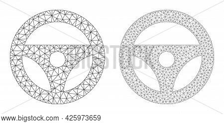 Mesh Vector Car Steering Wheel Icons. Mesh Wireframe Car Steering Wheel Images In Low Poly Style Wit