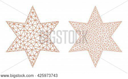 Mesh Vector Six Pointed Star Icons. Polygonal Carcass Six Pointed Star Images In Lowpoly Style With