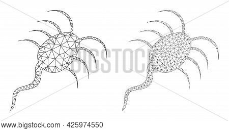Mesh Vector Infection Microbe Icons. Mesh Wireframe Infection Microbe Images In Low Poly Style With