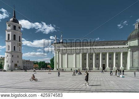 Vilnius, Lithuania - May 30, 2021: People Enjoy Sunny Weekend Day. The Cathedral Square, Main Square