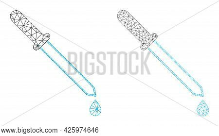 Mesh Vector Pipette Icons. Mesh Wireframe Pipette Images In Low Poly Style With Combined Triangles,