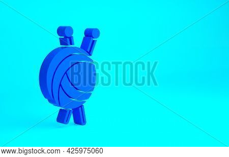 Blue Yarn Ball With Knitting Needles Icon Isolated On Blue Background. Label For Hand Made, Knitting