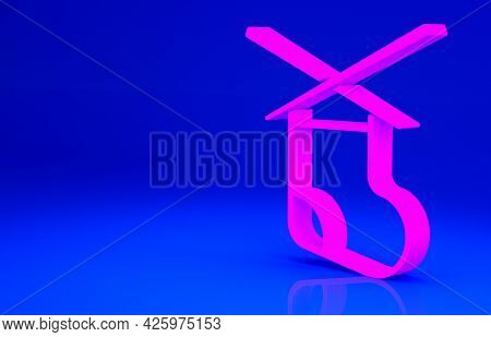 Pink Knitting Needles Icon Isolated On Blue Background. Label For Hand Made, Knitting Or Tailor Shop