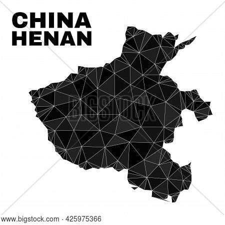 Low-poly Henan Province Map. Polygonal Henan Province Map Vector Is Combined Of Random Triangles. Tr