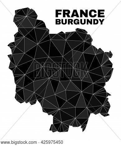 Lowpoly Burgundy Province Map. Polygonal Burgundy Province Map Vector Is Combined With Chaotic Trian
