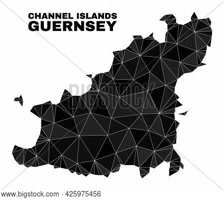 Lowpoly Guernsey Island Map. Polygonal Guernsey Island Map Vector Is Filled With Chaotic Triangles.