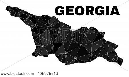 Lowpoly Georgia Map. Polygonal Georgia Map Vector Constructed Of Randomized Triangles. Triangulated