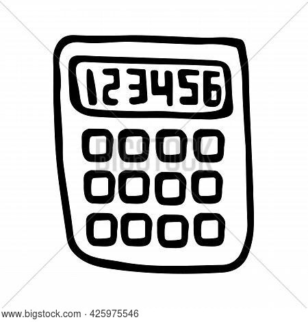 Vector Calculator In Doodle Style. Hand Drawn Logo Isolated On White Background. Symbol Of Economy,