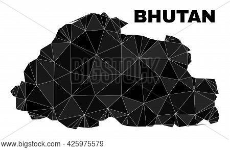 Low-poly Bhutan Map. Polygonal Bhutan Map Vector Is Combined With Random Triangles. Triangulated Bhu
