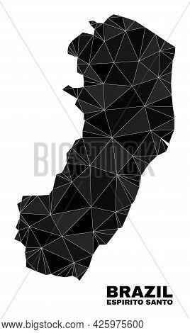 Lowpoly Espirito Santo State Map. Polygonal Espirito Santo State Map Vector Designed Of Scattered Tr