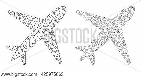 Mesh Vector Airplane Icons. Mesh Carcass Airplane Images In Low Poly Style With Organized Triangles,