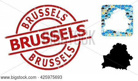 Weather Mosaic Map Of Belarus, And Rubber Red Round Brussels Stamp Seal. Geographic Vector Collage M