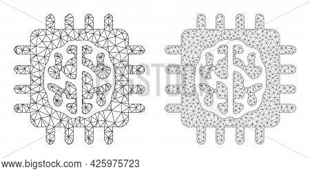 Mesh Vector Brain Chip Icons. Mesh Wireframe Brain Chip Images In Low Poly Style With Structured Tri