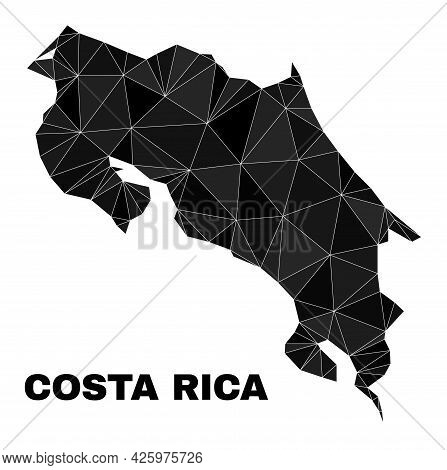Lowpoly Costa Rica Map. Polygonal Costa Rica Map Vector Is Designed With Random Triangles. Triangula