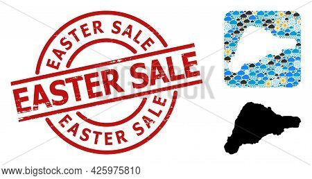 Weather Mosaic Map Of Easter Island, And Rubber Red Round Easter Sale Stamp Seal. Geographic Vector