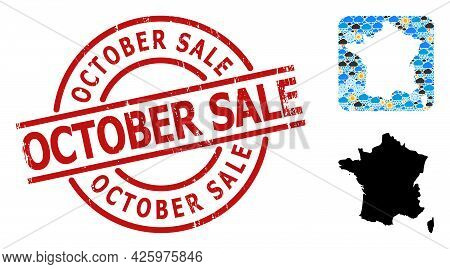 Weather Pattern Map Of France, And Grunge Red Round October Sale Seal. Geographic Vector Mosaic Map