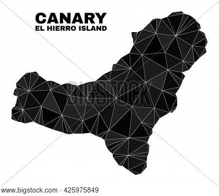Lowpoly El Hierro Island Map. Polygonal El Hierro Island Map Vector Is Designed Of Chaotic Triangles