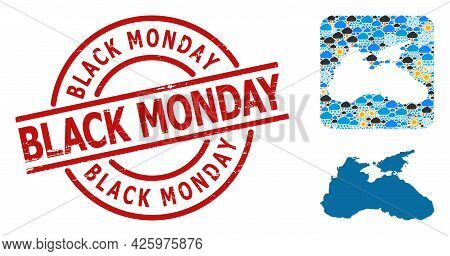 Climate Pattern Map Of Black Sea, And Scratched Red Round Black Monday Badge. Geographic Vector Mosa