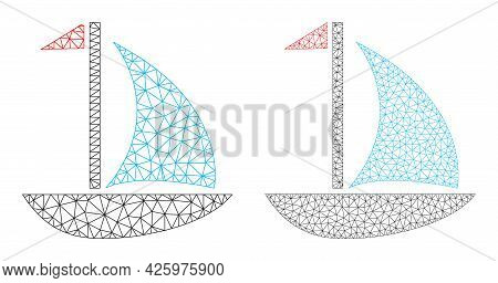 Mesh Vector Sail Boat Icons. Mesh Carcass Sail Boat Images In Lowpoly Style With Combined Triangles,