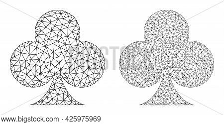Mesh Vector Playing Card Club Suit Icons. Mesh Wireframe Playing Card Club Suit Images In Low Poly S