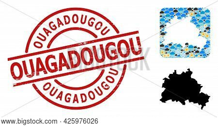 Weather Mosaic Map Of Berlin City, And Distress Red Round Ouagadougou Stamp Seal. Geographic Vector