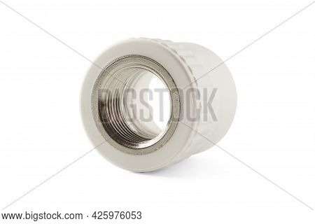 Combined Coupling For Polypropylene Pipes Isolated On White