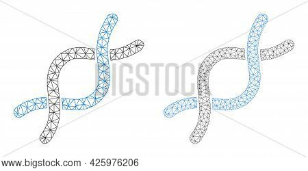 Mesh Vector Dna Helix Icons. Mesh Carcass Dna Helix Images In Lowpoly Style With Combined Triangles,