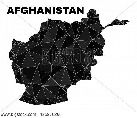 Lowpoly Afghanistan Map. Polygonal Afghanistan Map Vector Is Filled From Random Triangles. Triangula