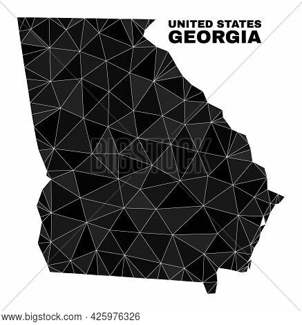 Low-poly Georgia State Map. Polygonal Georgia State Map Vector Is Filled With Random Triangles. Tria