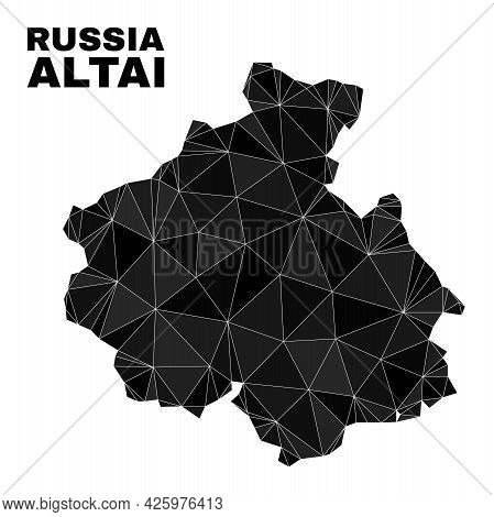 Low-poly Altai Republic Map. Polygonal Altai Republic Map Vector Is Designed Of Chaotic Triangles. T