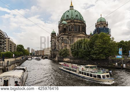 13 May 2019 Berlin, Germany - Urban view of historic Berlin Cathedral (Berliner Dom) at famous Museu