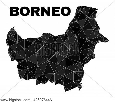Lowpoly Borneo Map. Polygonal Borneo Map Vector Filled From Chaotic Triangles. Triangulated Borneo M