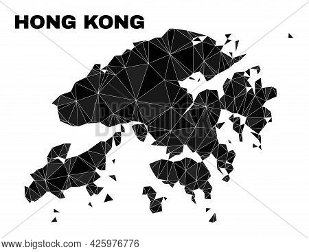 Low-poly Hong Kong Map. Polygonal Hong Kong Map Vector Designed With Randomized Triangles. Triangula