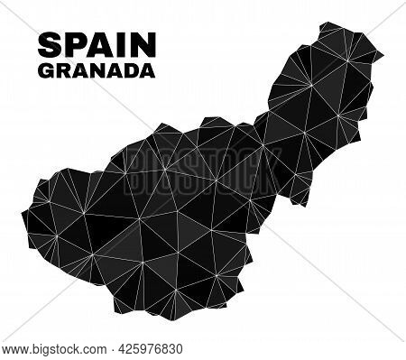 Low-poly Granada Province Map. Polygonal Granada Province Map Vector Is Filled From Random Triangles