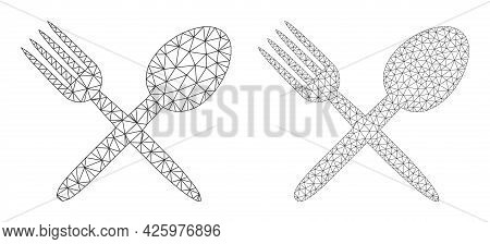 Mesh Vector Fork And Spoon Icons. Mesh Carcass Fork And Spoon Images In Lowpoly Style With Structure