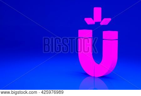Pink Magnet Icon Isolated On Blue Background. Horseshoe Magnet, Magnetism, Magnetize, Attraction. Mi