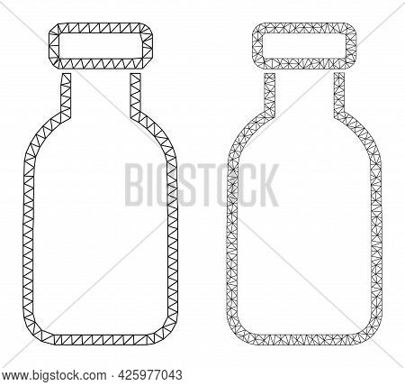 Polygonal Vector Empty Vial Icons. Polygonal Wireframe Empty Vial Images In Low Poly Style With Comb