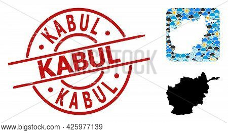Climate Collage Map Of Afghanistan, And Rubber Red Round Kabul Stamp Seal. Geographic Vector Mosaic
