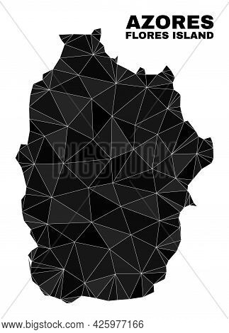 Low-poly Flores Island Of Azores Map. Polygonal Flores Island Of Azores Map Vector Is Designed With