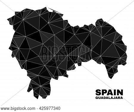 Lowpoly Guadalajara Province Map. Polygonal Guadalajara Province Map Vector Designed Of Randomized T