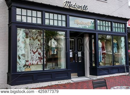WESTPORT, CT, USA - JULY 4, 2021: Madewell store entrance view from Main Street in down town area