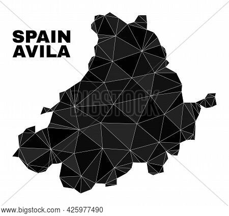 Lowpoly Avila Province Map. Polygonal Avila Province Map Vector Is Filled Of Chaotic Triangles. Tria