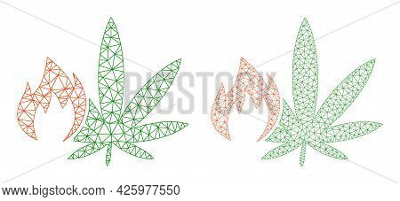 Mesh Vector Hot Cannabis Icons. Mesh Wireframe Hot Cannabis Images In Low Poly Style With Organized
