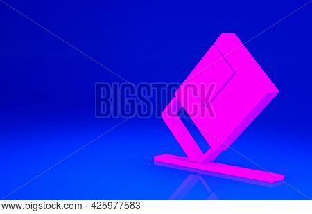 Pink Eraser Or Rubber Icon Isolated On Blue Background. Minimalism Concept. 3d Illustration 3d Rende