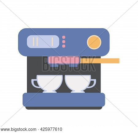Vector Illustration Of Household Kitchen Appliances Isolate On White Background. Blue Colored Coffee