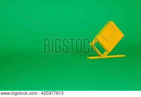 Orange Eraser Or Rubber Icon Isolated On Green Background. Minimalism Concept. 3d Illustration 3d Re