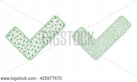 Mesh Vector Ok Sign Icons. Mesh Carcass Ok Sign Images In Low Poly Style With Organized Triangles, N