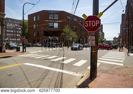 Portland, Me - June 27, 2021: Portland Old Port Is Filled With 19th Century Brick Buildings And Is N