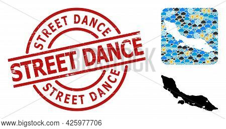 Weather Mosaic Map Of Curacao Island, And Rubber Red Round Street Dance Badge. Geographic Vector Mos